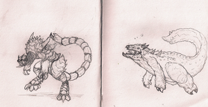 Kaiju Double Feature - Sketch Set 1 by Vagrant-Verse