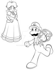 Daisy and Luigi Ink by AtomicTiki