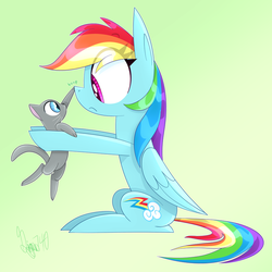 Rainbow Dash with a Cat by siggie740