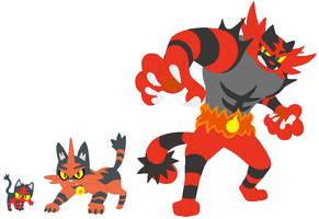 Litten, Torracat and Incineroar Base