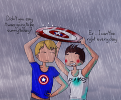 Tony and Steve: Umbrella by ice-cream-skies
