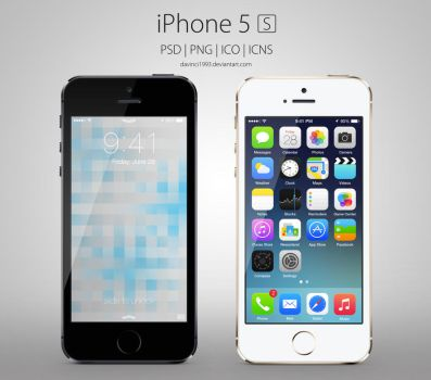 Apple iPhone 5S: PSD | PNG | ICO | ICNS by davinci1993
