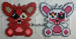 Mini Foxy and Mangle Plushies by PerlerPixie