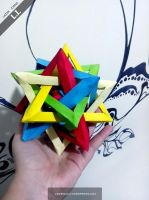 Origami Five intersecting tetrahedral by DarkUmah