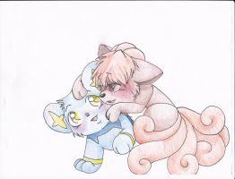 Pals (Shinx and Vulpix) by OurClassRoomDoodles
