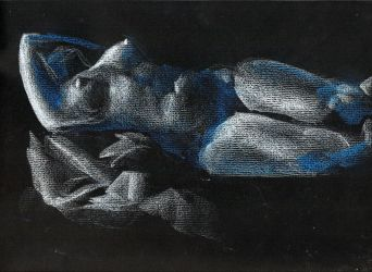 Reclining nude on black paper by JakeGreen