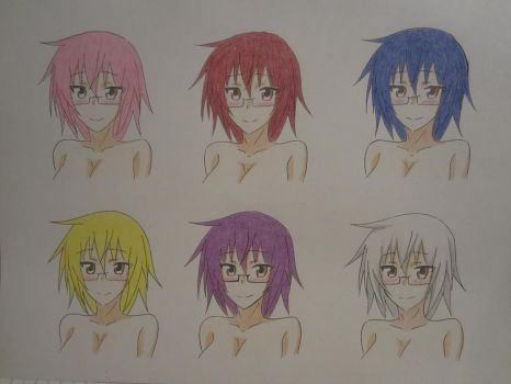 6 Different hair colors by XxSgtCampbell
