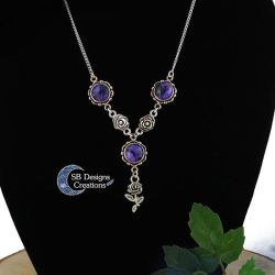Gothic Rose necklace Purple Victorian jewelry by Nyjama