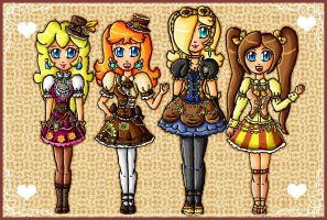 steampunk princesses by ninpeachlover