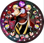 Queen of Hearts stained glass