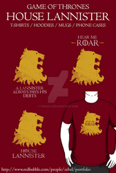 Game of Thrones - House Lannister T-shirt by Fenx07