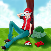 A Trainer and his Bulbasaur by Daisy-Inari