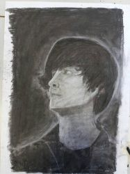 Self Portrait in charcoal by Thezlington