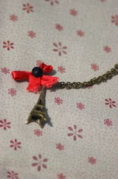Eiffel Tower and Red Bow with Black Jewel Necklace by tgwttn