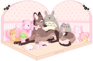 .: Plushie pile :. by Mythie-Paws