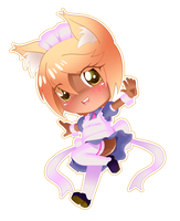 Chibi dark skin neko girl as a maid by chacrawarrior