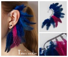 Blue and pink  feather ear cuff by Taisa-Winged