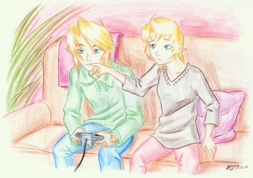 Playing the console... by Filiana