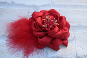 Red hair fascinator/brooch (available) by TheBohoCraftsShoppe