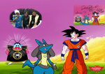 Goku meets Lucario 'Signed by Sean Schemmel!' by MarkHoofman