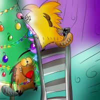 Norbert and Daggett Decorating Christmas Tree by DoraeArtDreams-Aspy