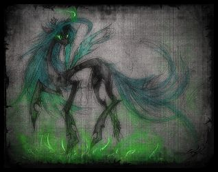 Queen Chrysalis sketch by kaizerin