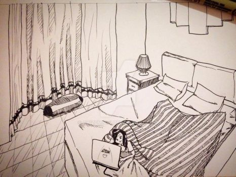 Inktober #4 : Fav Place - My Room by ChizuMichi