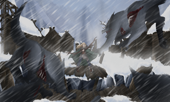 Concept art - Attack in the blizzard by Sarita-MyWorld