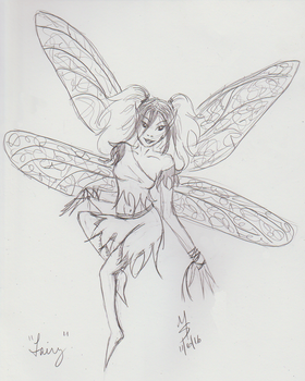 Sketchavember 11/6/16 - Fairy by Ginkage