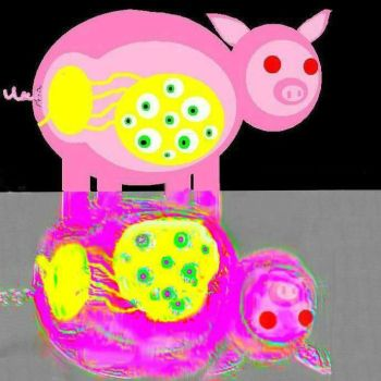 pig sees reflection by machthemanic