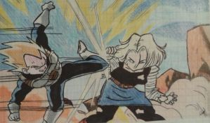Vegeta vs. Android 18 by mahmusx
