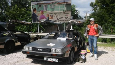 Marty McFly with Delorean 1 by peterszebeni