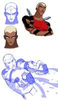 Kaldur'ahm/ Aqualad of Young Justice sketches 2 by Sarcasticyetsexy