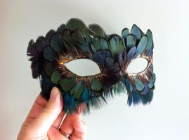 Lady Amherst and Peacock Feather Mask by DaraGallery