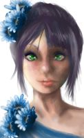 Greeneyesblueflowers by Goldphishy