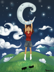 Holding the moon by Maybellez
