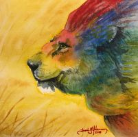 Watercolor Lion by tadamson
