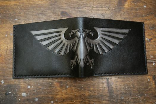 Warhammer 40k Imperial Eagle leather bifold wallet by Arnakhat