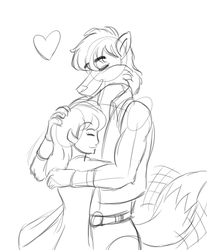 Akito and Casey Hug by MDTartist83