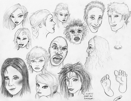 Face Sketches 180305 by TheMightyGorga