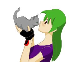 Human Romale and Kitten by manicgirl155