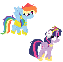 AU- Princess Twilight and Captain Dash by Bezziie