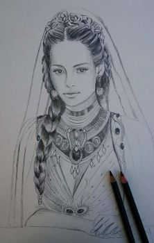Sketch in progress - Silmarien of Numenor by Ladyoftheflower