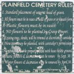 Plainfield Cemetery Rules sign, WI 0/29/14 5:54 by Crigger