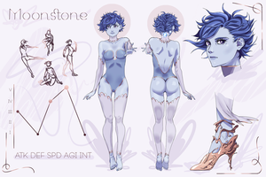 GEMSONA - MOONSTONE - CHARACTER SHEET - REDESIGN by madobuns