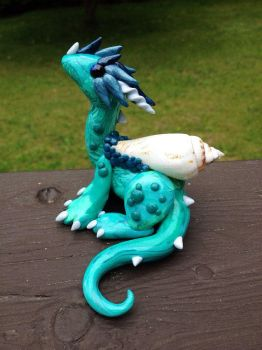 Seafoam Dragon Sculpture by MaryBunnie