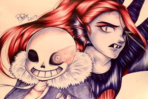 Sans and Undyne by Brookestar4