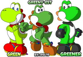 The Mean Green Machines Trio Yoshis by Greeny-Yoshi-RSL19