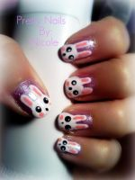 Nail Art: Bunnies by ninjanatus84