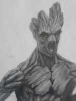 Groot charcoal and chalk rendering by chrisgoddard85